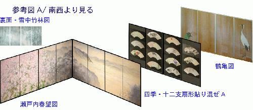不洗観音寺客殿襖絵構成図 簡単な見取り図を作ってみました。扇面が並んでいる黒いベース、完成時にはこの黒い部分は箔となり、金、もしくは銀色(プラチナ)の背景となります。宣紙はこの箔ベース部分に使われています。板戸の素材は杉です。瀬戸内春望図は大�M紙を使っています。客殿一番奥の和室から入り口方向に襖を順に見ると、雪の積もる竹林の中から彼方に光を見、次ぎに広がるのはやはり光る海、太陽・龍虎、鶴亀の祝福といった構成になっています。「瀬戸内春望図」は、現在不洗観音寺がある場所が帯江という地名からもわかるように、かっては内海が眼前に広がっていたであろう事を想像し描きました。実際に見える遠景を島影に見立てたり、代表的な瀬戸内風景としての鷲羽山からの眺めなども加味して入江風景として描いています。この絵にも波の表現があります。実際に見ていただければご理解いただけると思いますが、線としての表現、面としての捉え方など、都路華香作品との出会いも制作に反映したものとなっています。