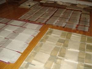 滲み止めのドーサを紙の一部分に塗って乾かせています。(結構な数になり事前準備も大変です^^;日本画を描く作業に段取りはつきもの、限られた講座時間で出来ないものは準備するしかありません。)生紙の状態とドーサを引くことによって加工紙(熟紙)になった違いをそれぞれ試してもらいます。